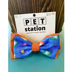 Hand Mades By Mom Orange and Hearts blue Bow Tie L-XL
