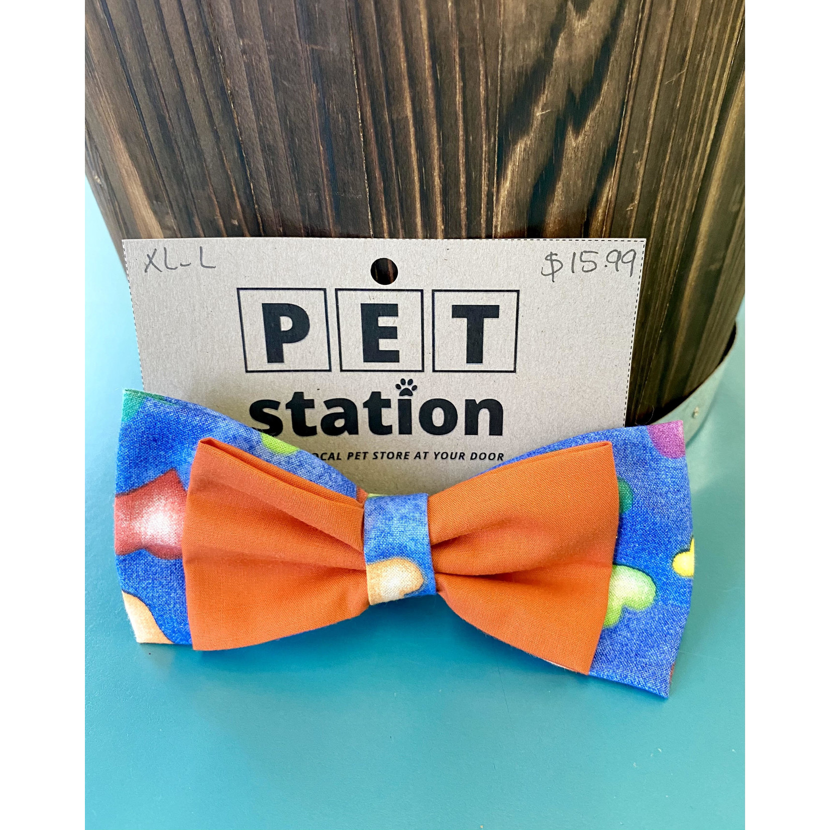 Hand Mades By Mom Hearts Blue and orange Bow Tie L-XL