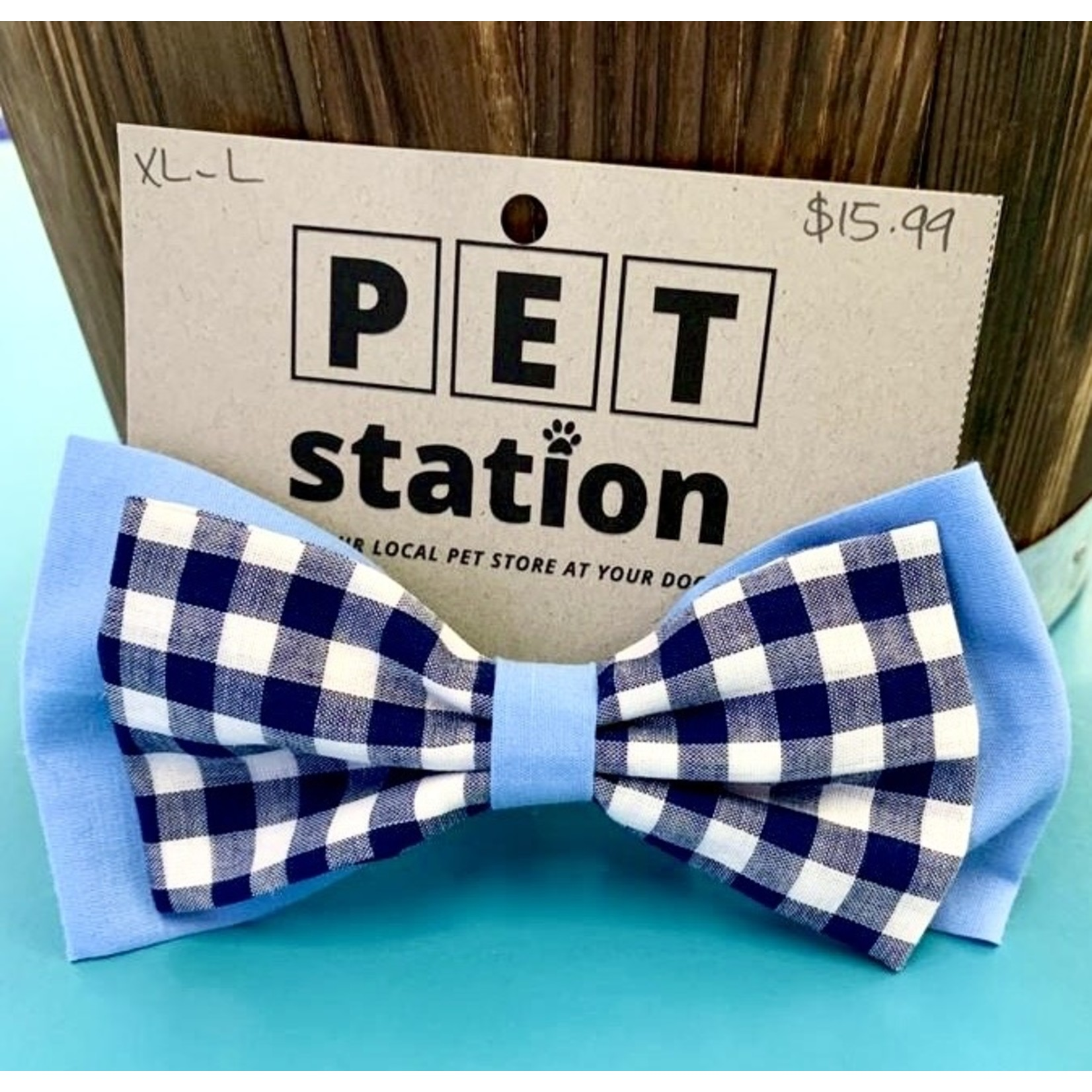 Hand Mades By Mom Light Blue and Flannel Bow Tie L-XL