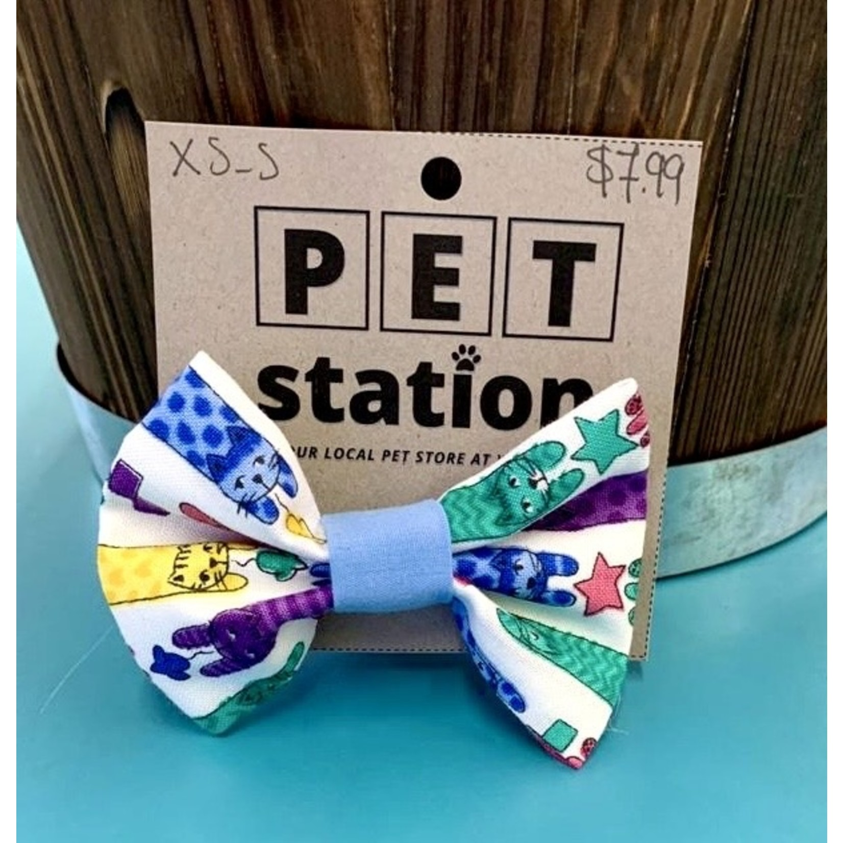 Hand Mades By Mom Colourful cats and Light blue Bow tie XS-S