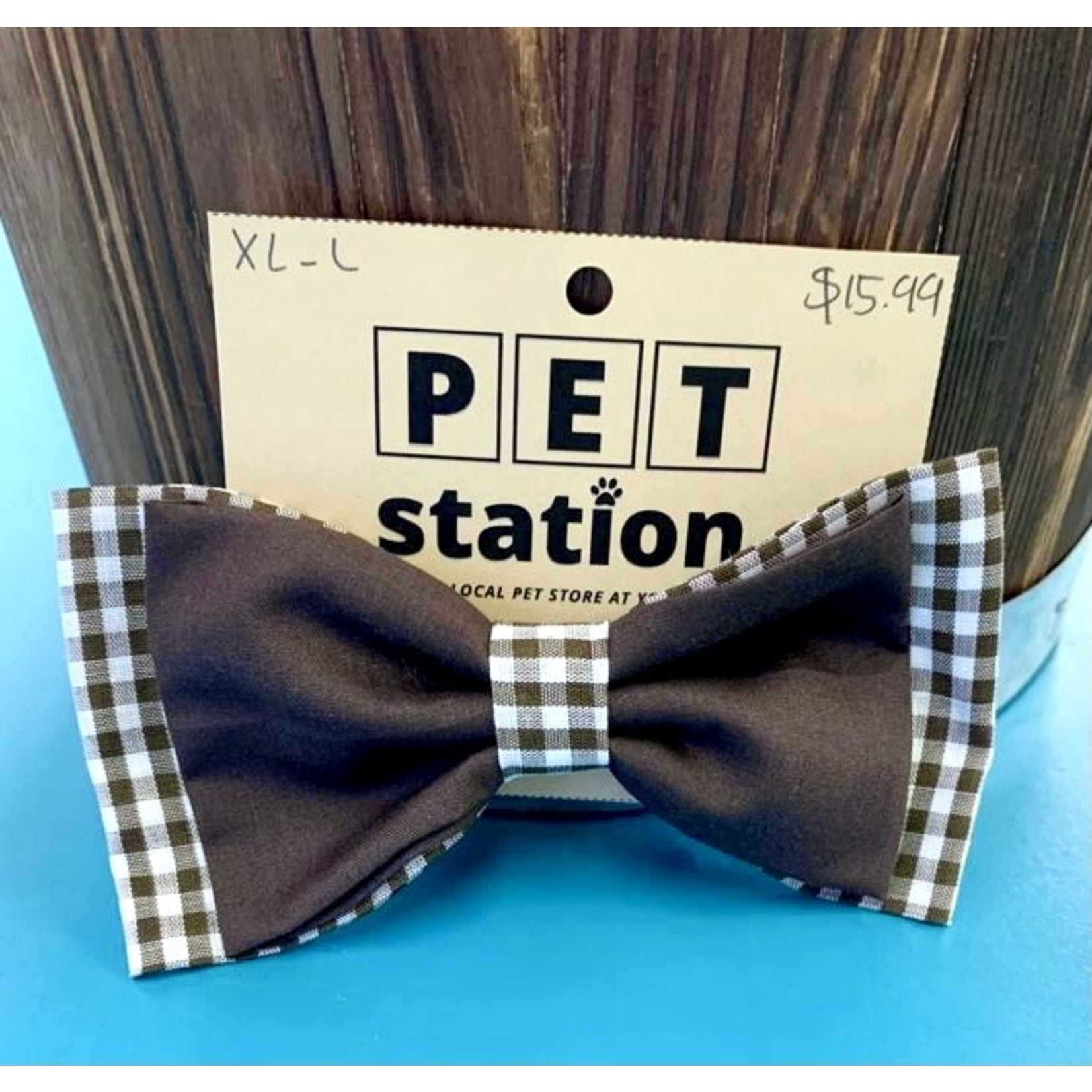 Hand Mades By Mom Flannel and Brown Bow Tie L-XL