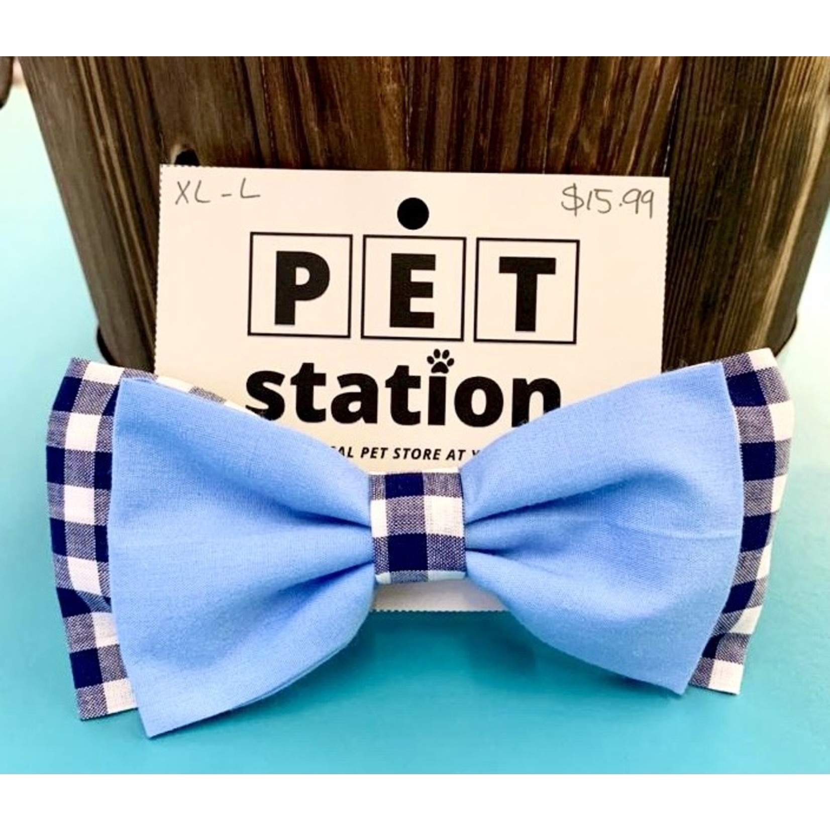 Hand Mades By Mom Flannel and Light Blue Bow Tie L-XL