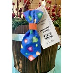 Hand Mades By Mom Hearts blue and orange Tie