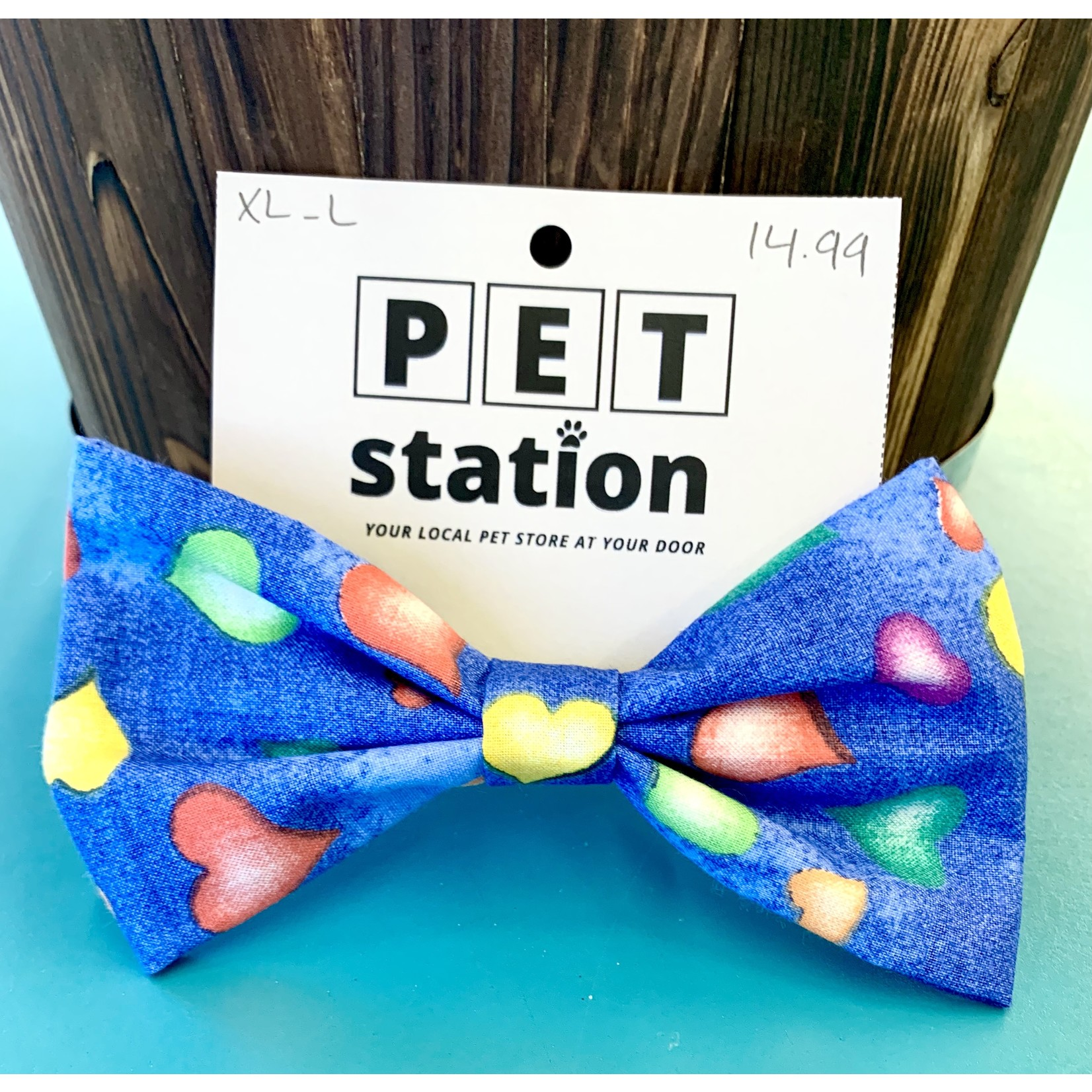 Hand Mades By Mom Hearts Blue Bow Tie