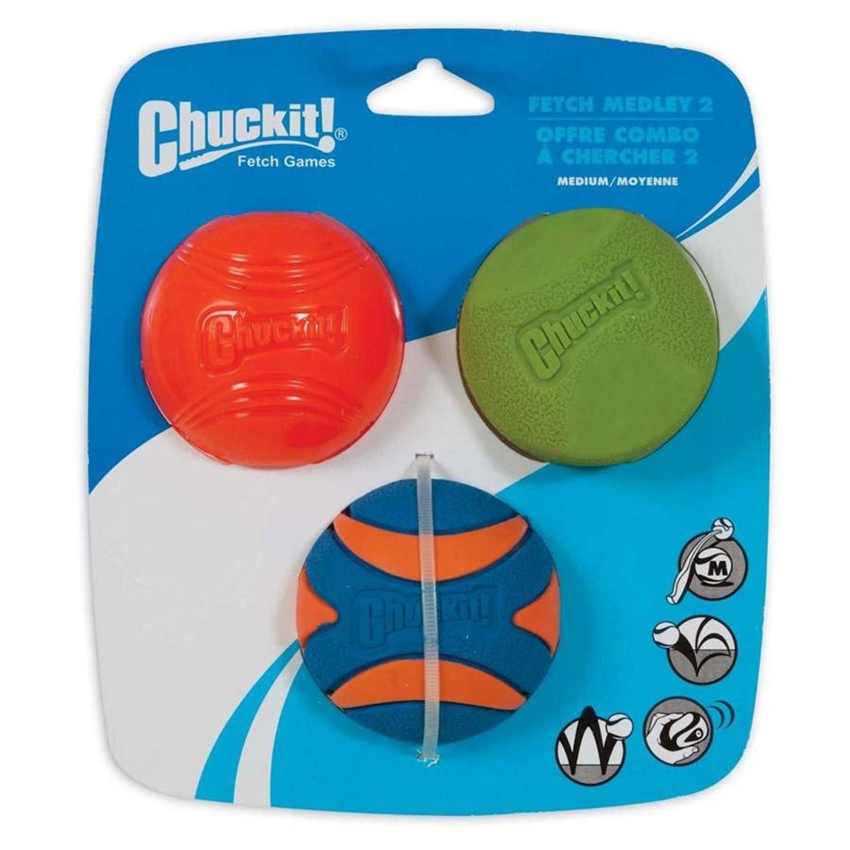Chuckit Chuckit! Fetch Medley Classic Medium 3Pk Dog Toy