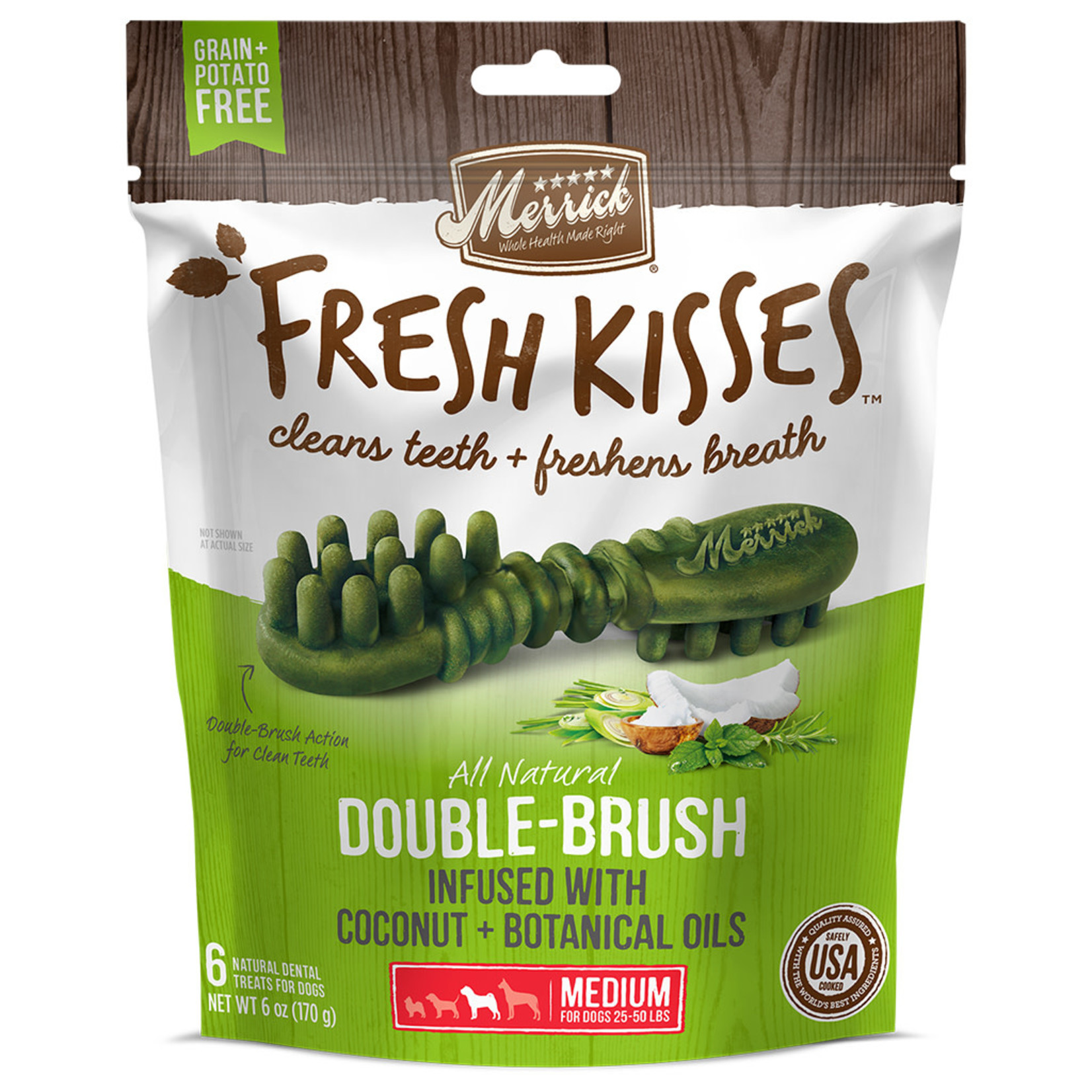 Merrick Fresh Kisses Coconut + Botanical Oils M (6chews)