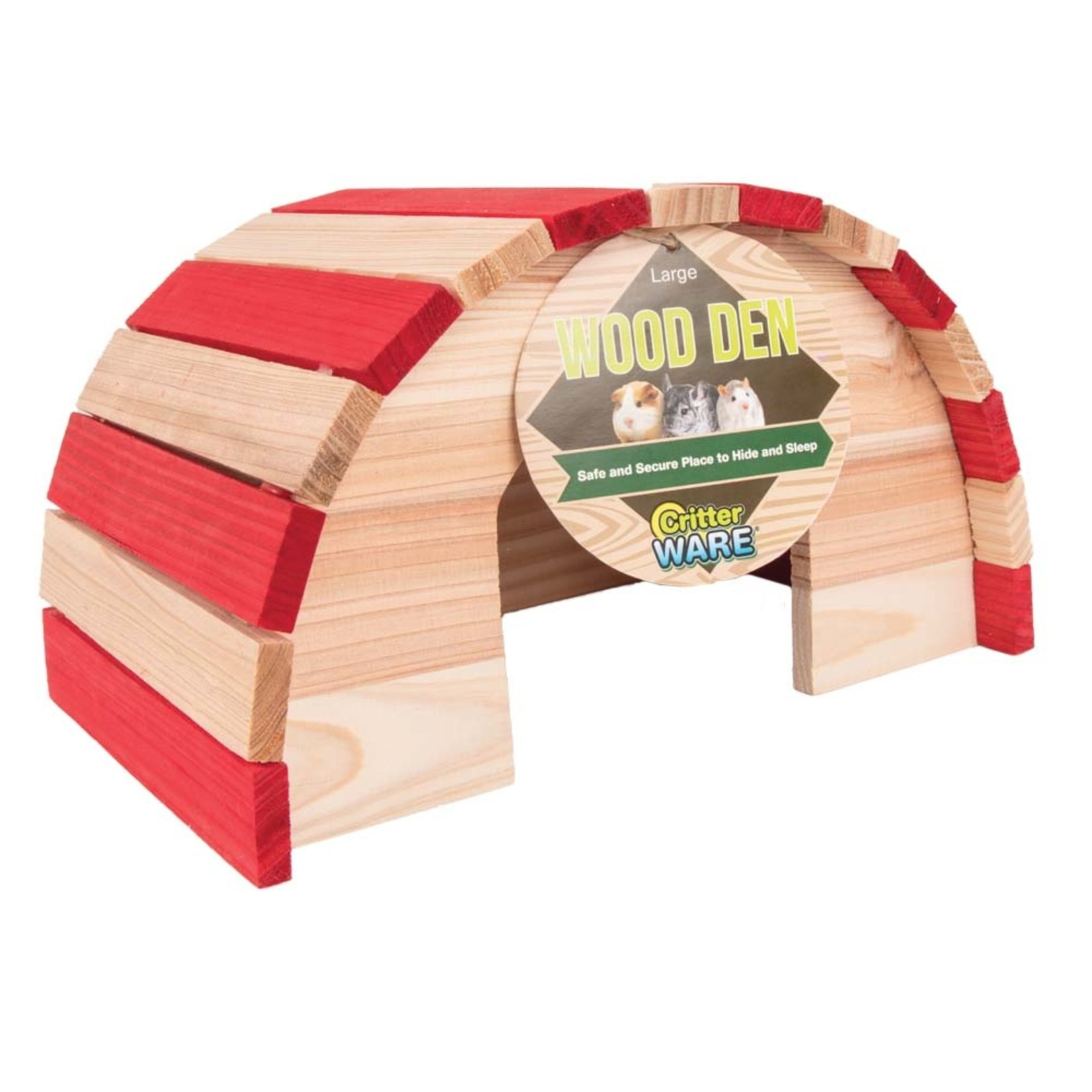 Wood den for small animals Red L