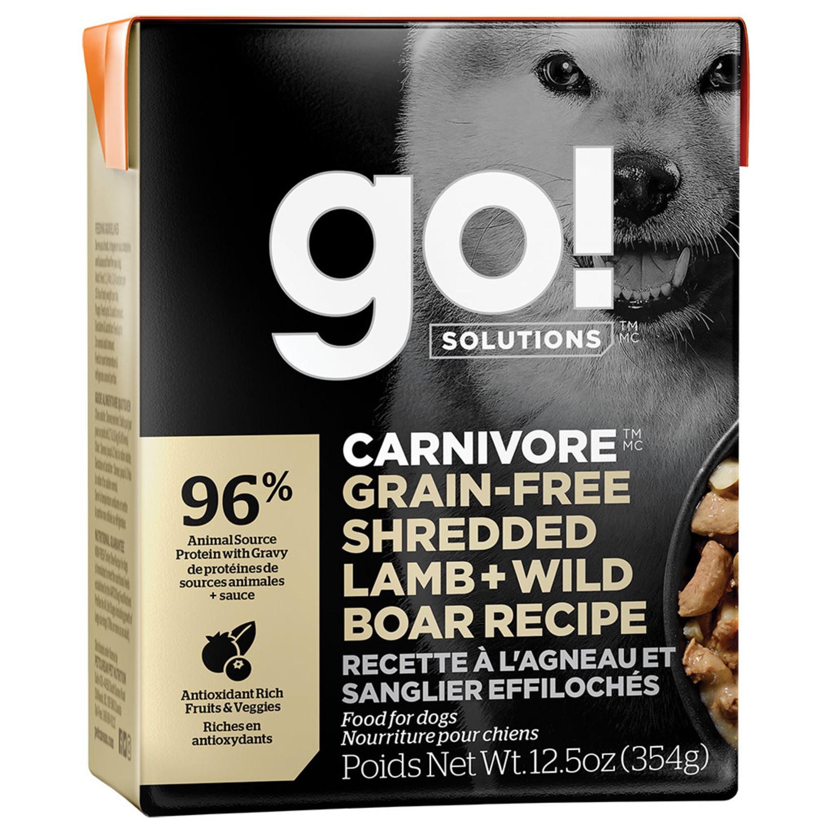Go! Go! Dog Can Carnivore shredded lamb & wild boar grain free 354 g