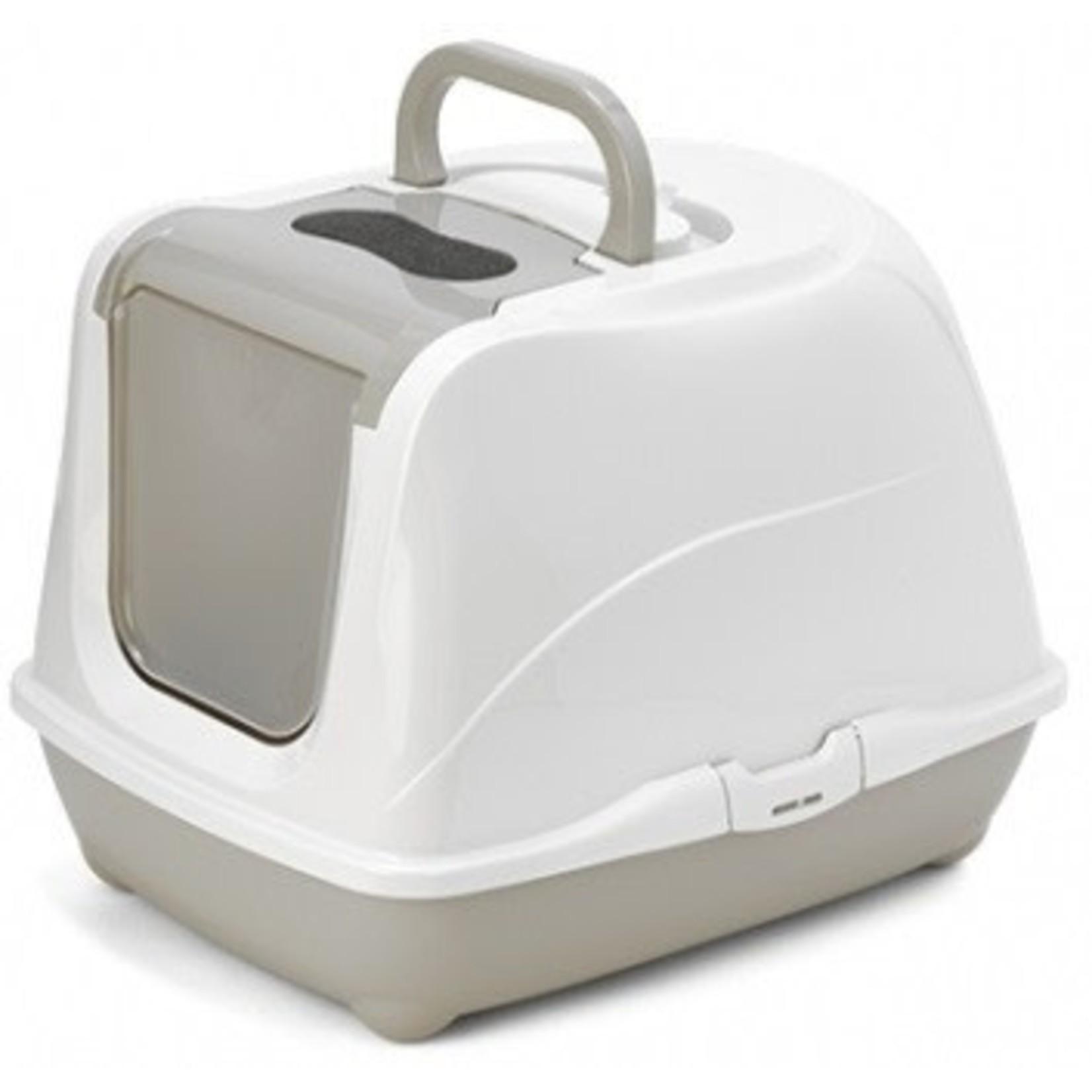 Flip Cat Litter Pan with door warm gray