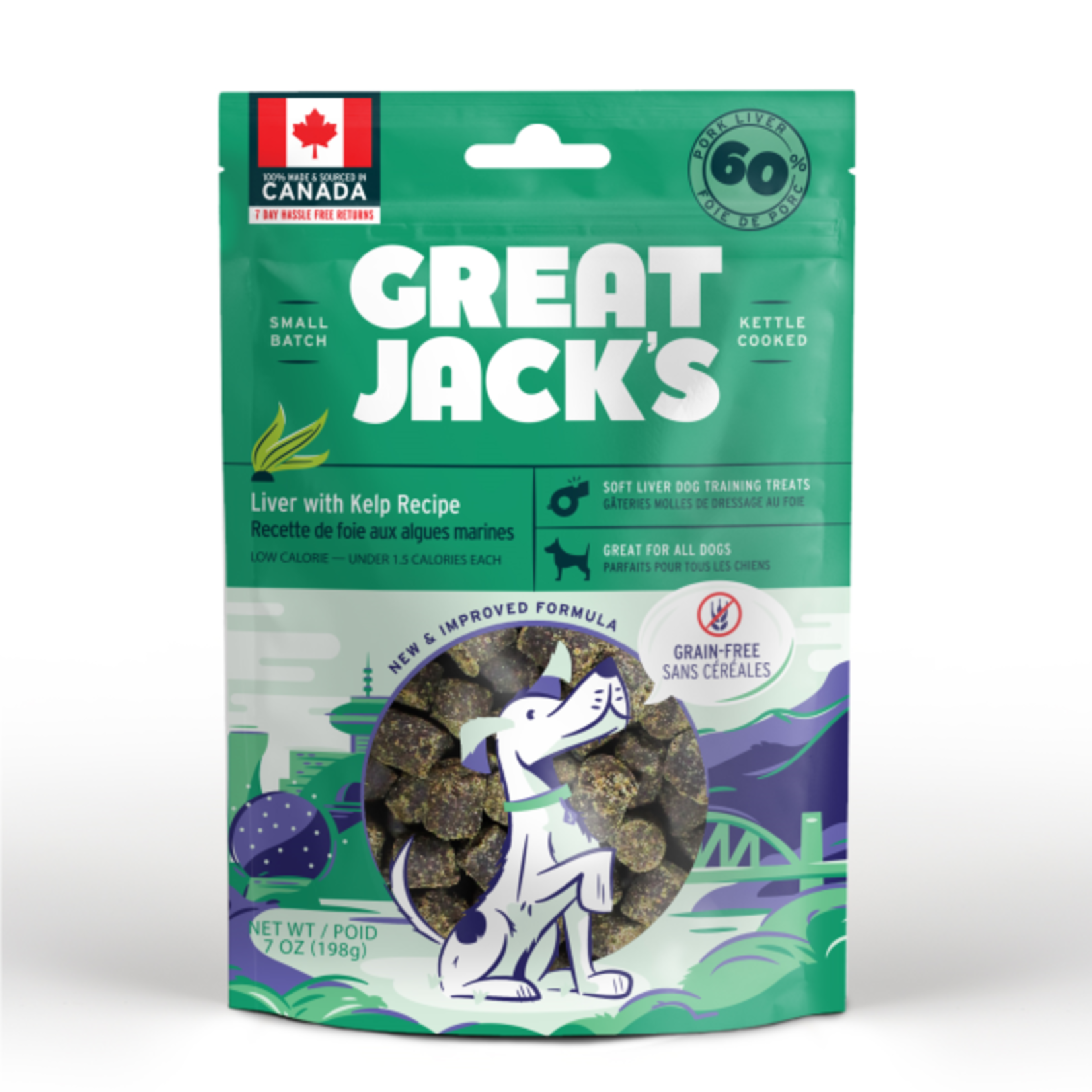Great Jack's Great Jack's Dog treat big bits liver & Kelp 198g