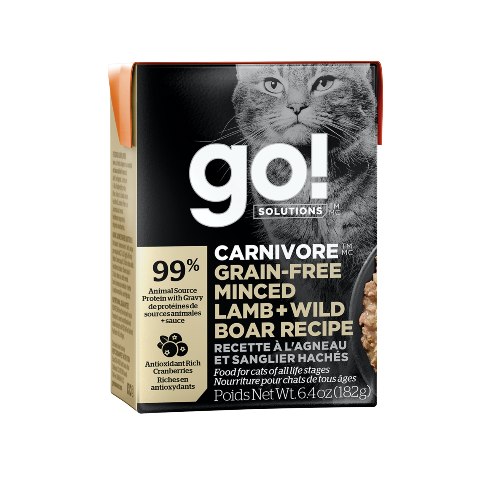 Go! Go! Cat Can carnivore grain free minced lamb + wild boar recipe
