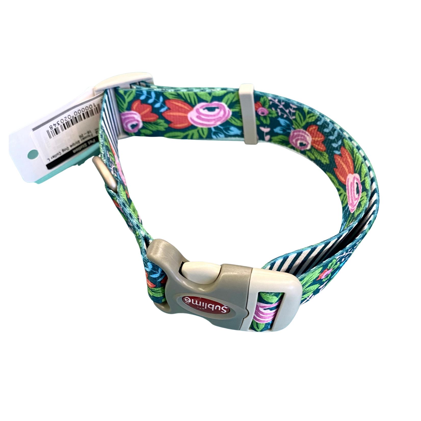 "Flower Stripe Dog Collar L 18-26"""