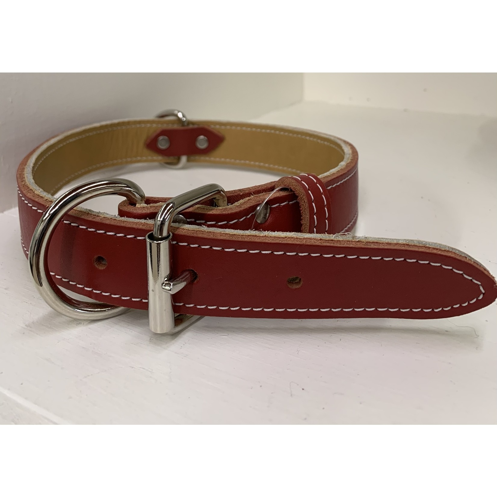 Double Leather Collar Red 1 1/4x24in