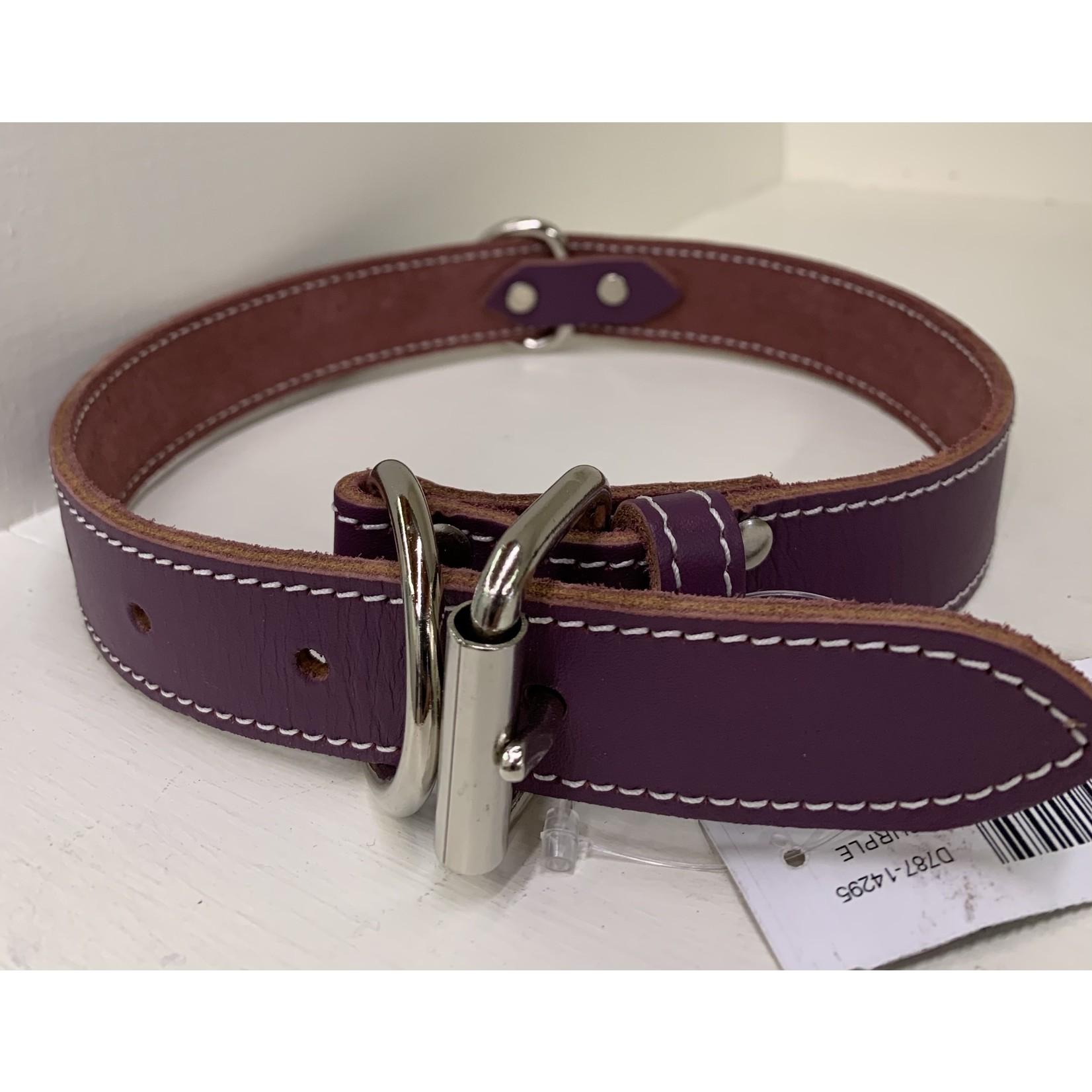Leather Collar Purple 1 1/4x26in