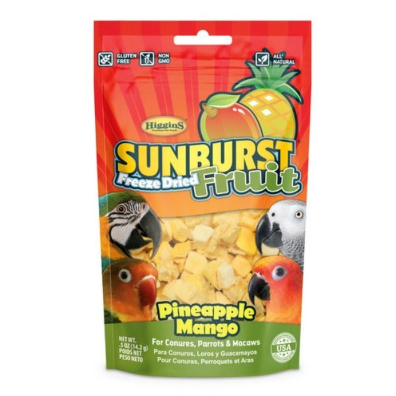 Sun Burst Freeze Dried Fruit Pinapple&Mango For Conuros,Parrots,Macaws 5oz