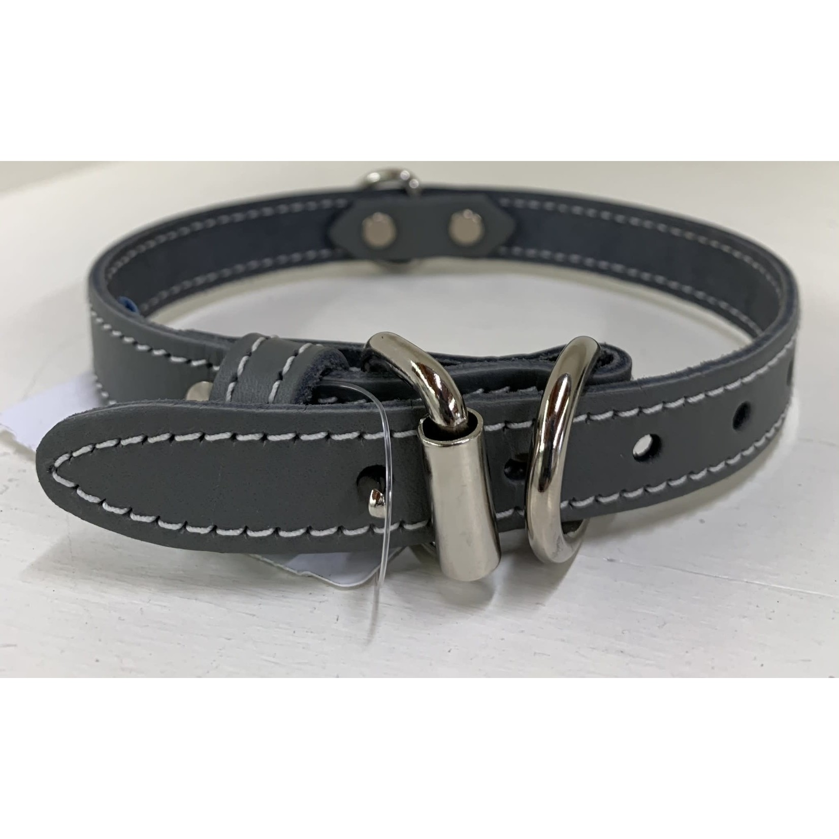 leather collar gray 1/2 x 12 in
