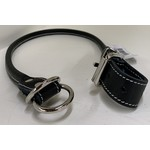 Lacets Arizona Round leather choke collar Black