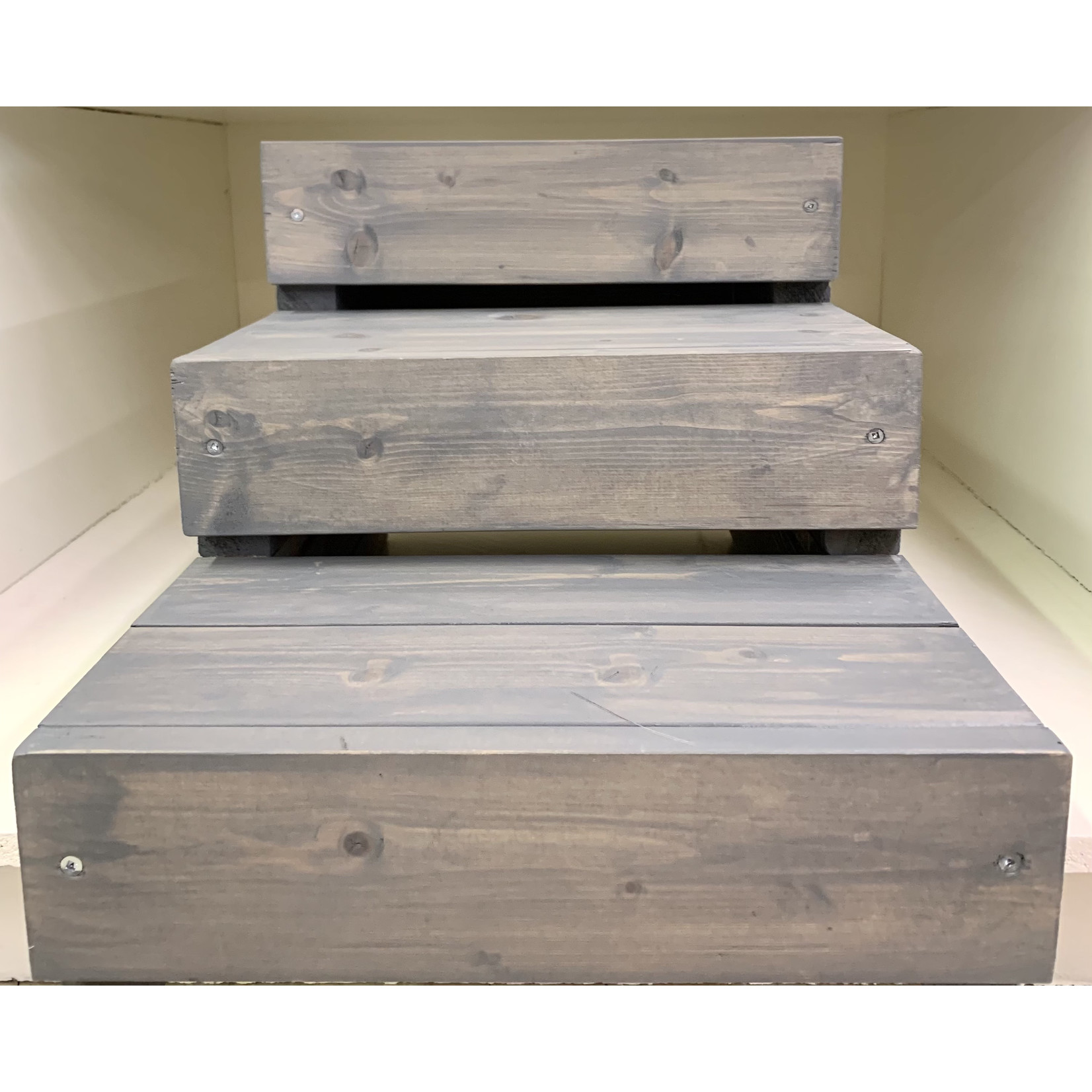 Pet Steps By Ben Hand Made Natural Wood Pet Steps Gray 3 level