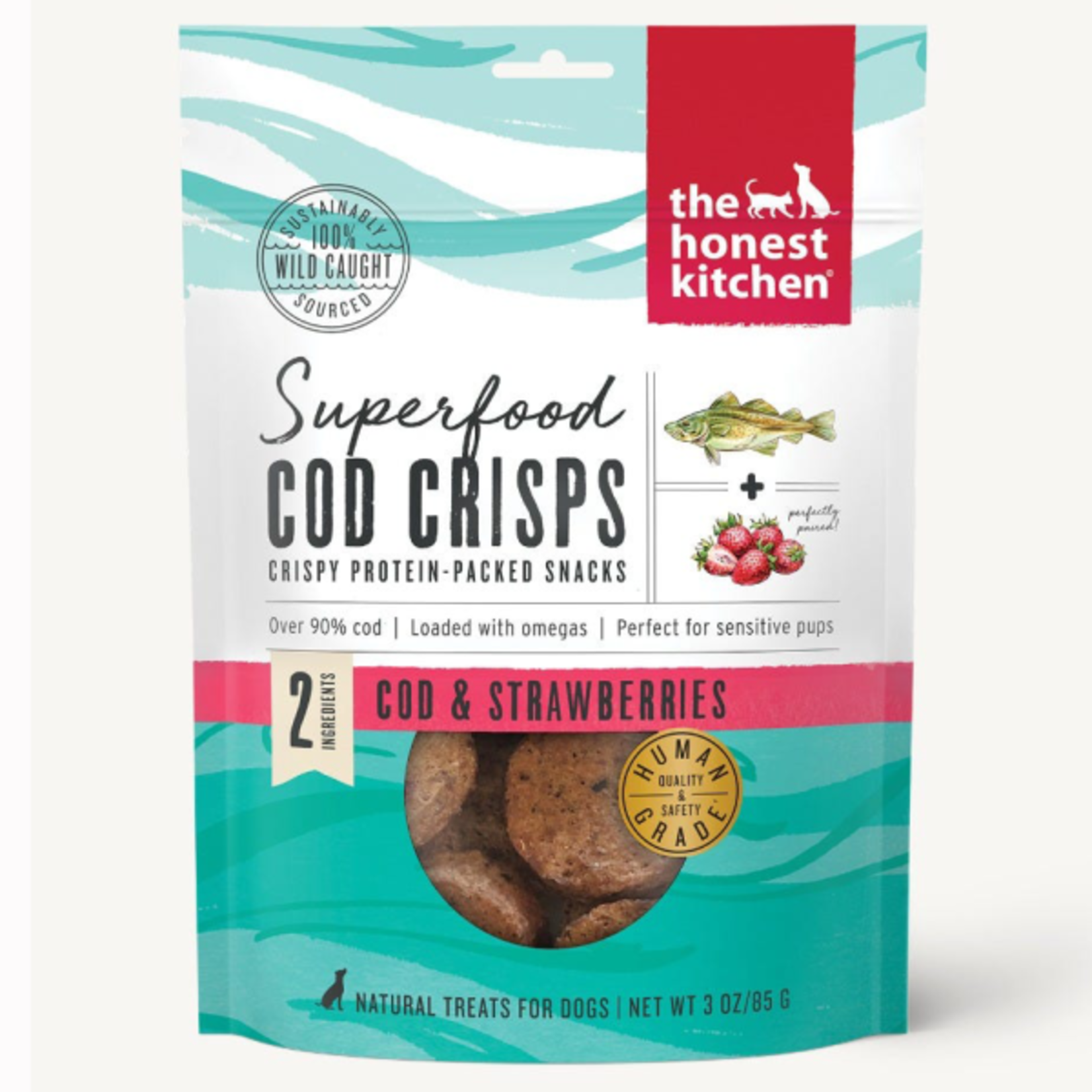 Honest Kitchen HK Dog Superfood Cod Crisps W Strawberry 3oz