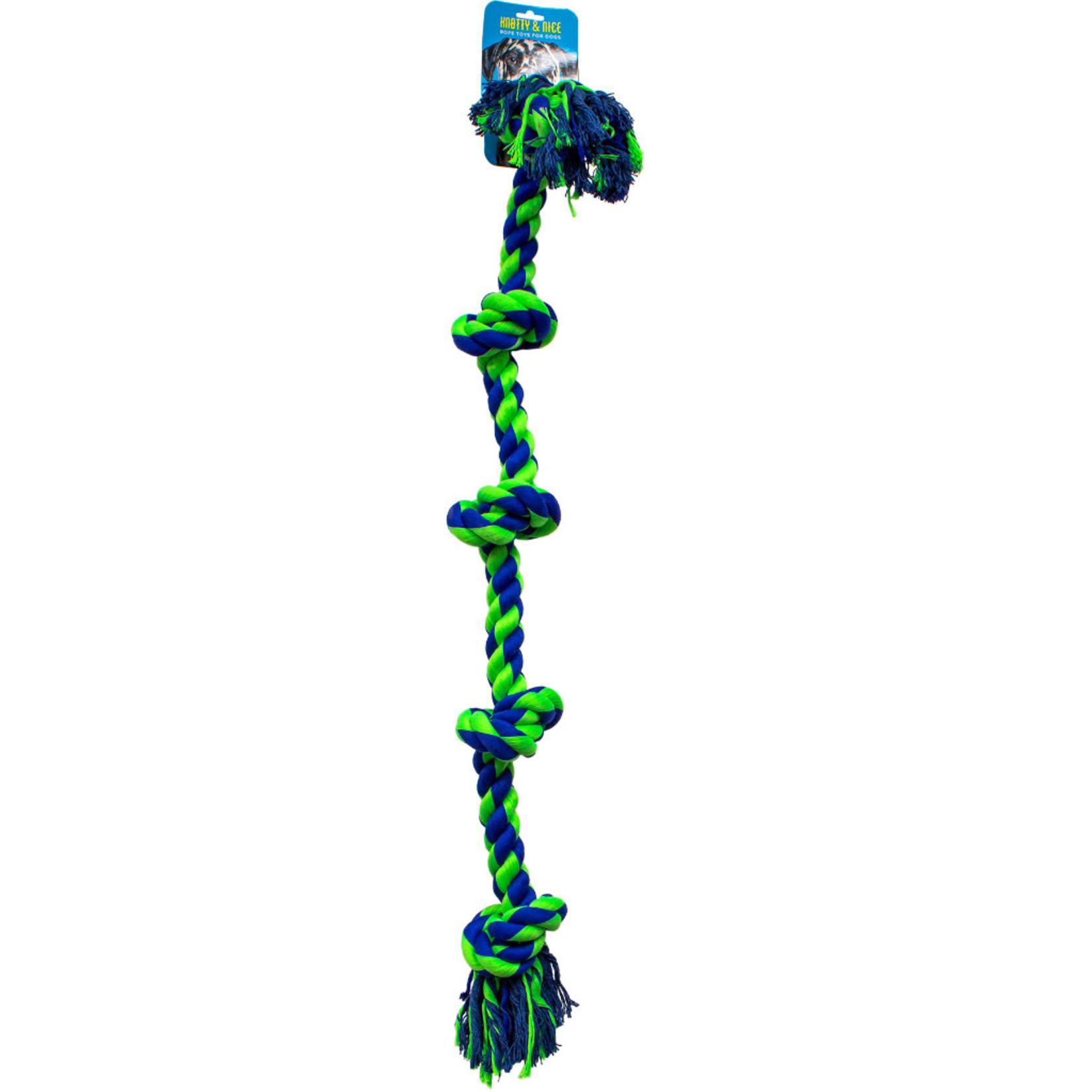 "Knotty Nice Knotty Rope Five Knot XLarge blue & green 36"""