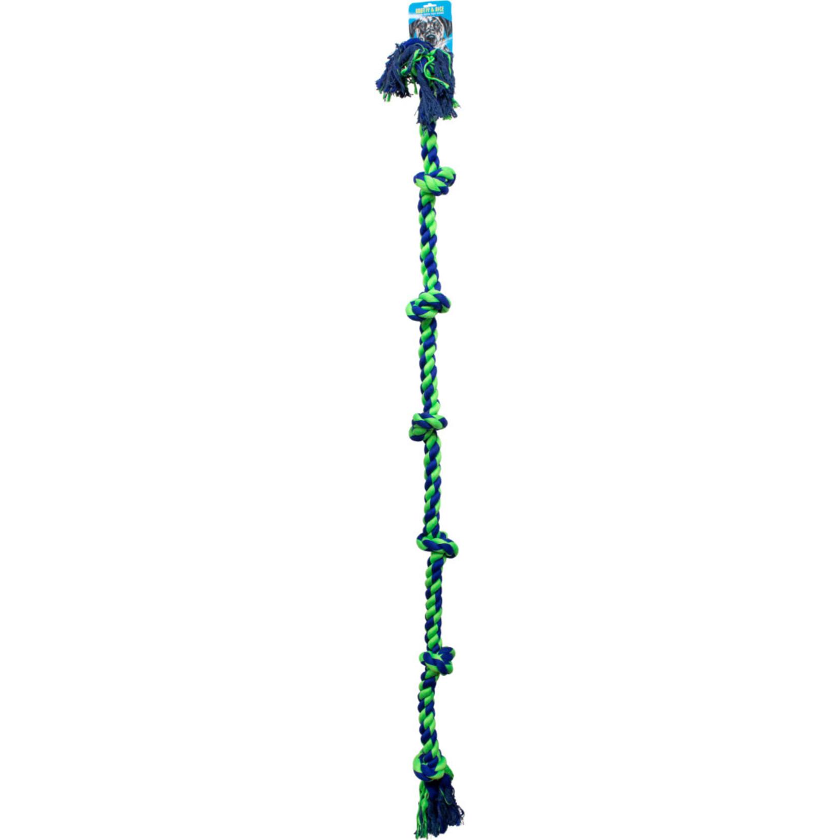 """Knotty Nice Knotty Rope Seven Knot XXLarge blue & green 72"""""""