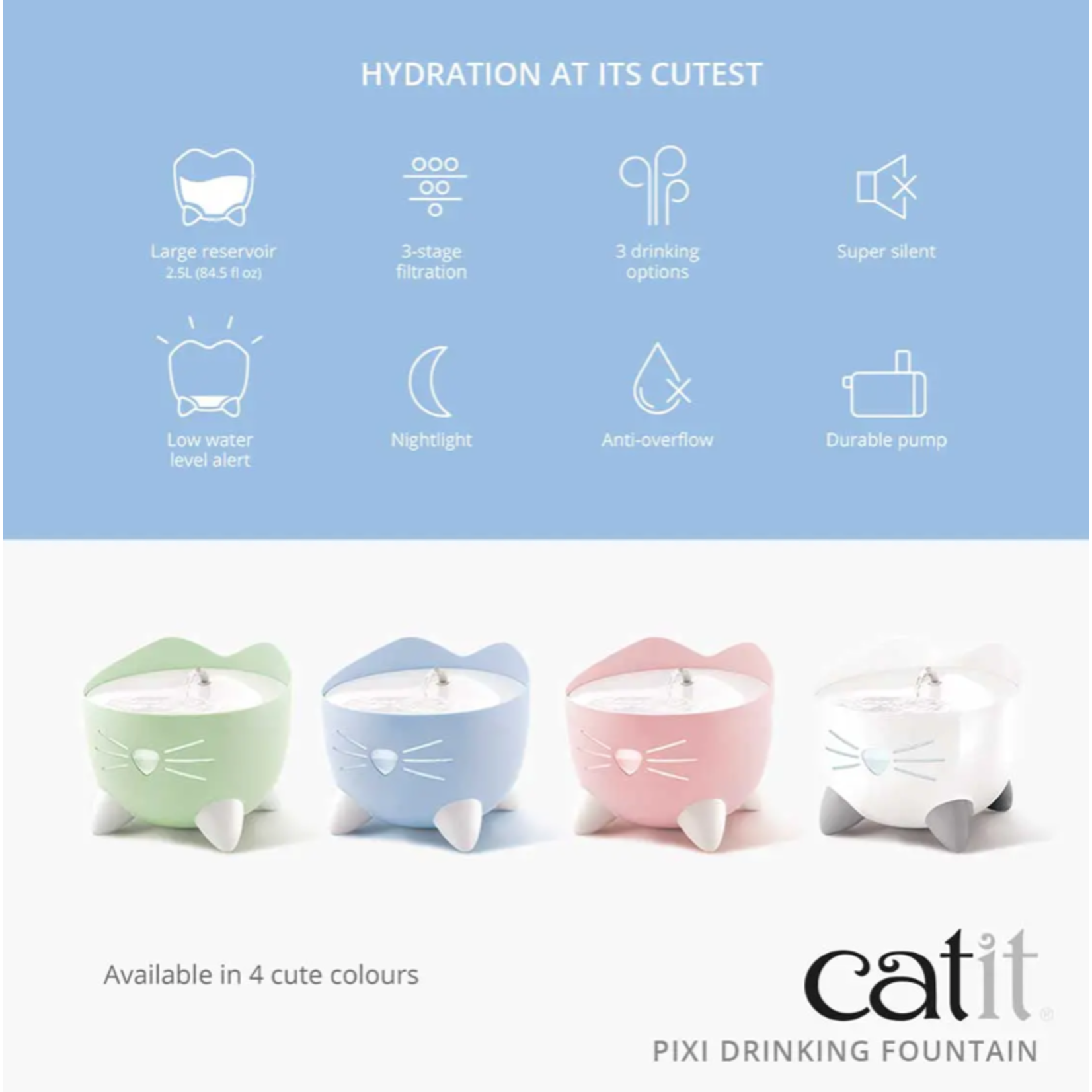 Catit Pixi Fountain White with Stainless Steel top