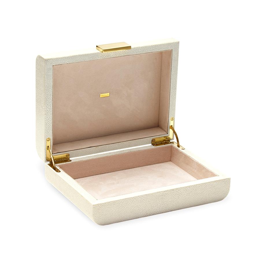 AERIN MODERN SHAGREEN JEWELRY BOX CREAM