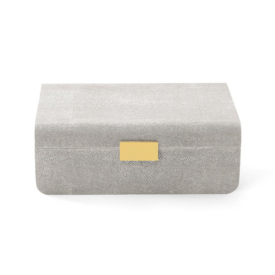 AERIN MODERN SHAGREEN JEWELRY BOX DOVE
