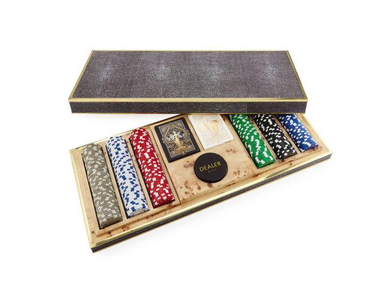 AERIN AERIN CHOCOLATE SHAGREEN POKER SET