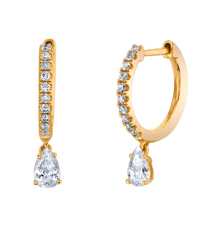 ANITA KO 18K DIAMOND HUGGIES WITH PEAR DROP
