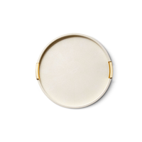 AERIN CARINA CREAM SHAGREEN LARGE ROUND TRAY