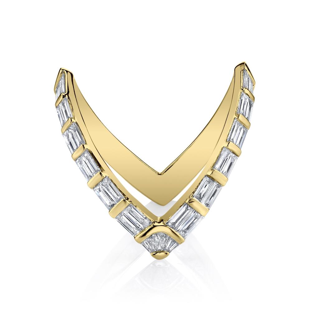 ANITA KO 18K BAGUETTE DIAMOND V RING 6.5