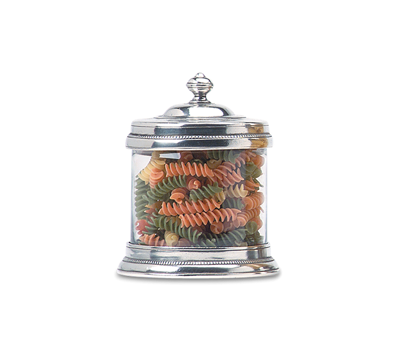 MATCH PEWTER GLASS CANISTER SMALL