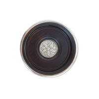 MATCH PEWTER BOTTLE COASTER WITH WOOD INSRT