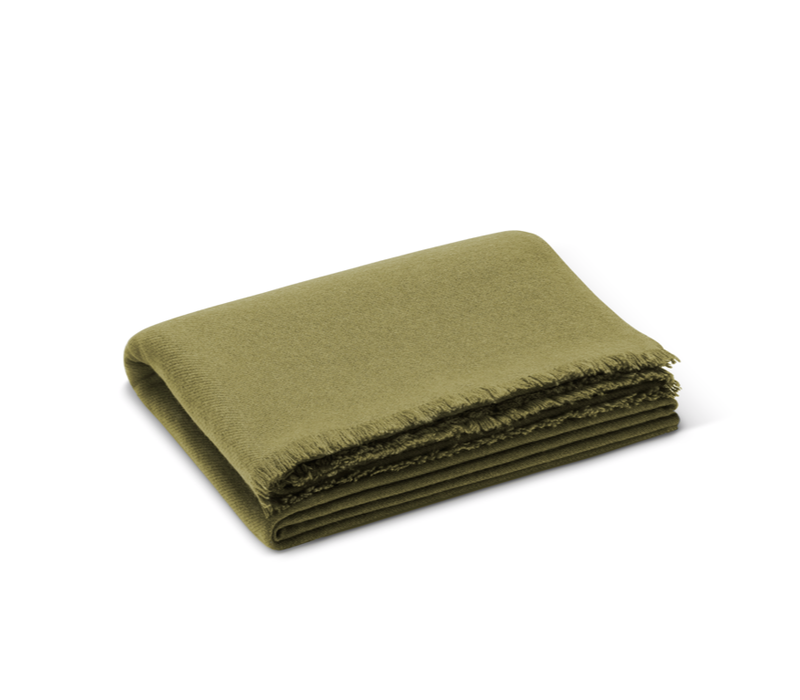 AERIN NOE CASHMERE THROW MOSS GREEN