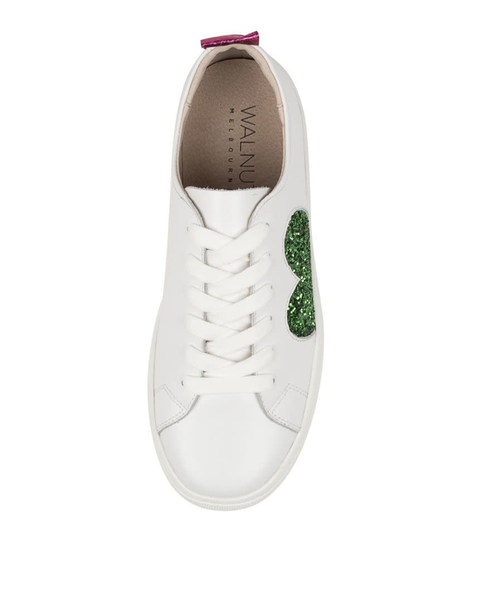 WALNUT Walnut - White Leather Sneaker (Green Glitter Heart)