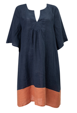 ABBY THE LABEL Abby The Label - Mustard Stripe Linen Dress (Navy)