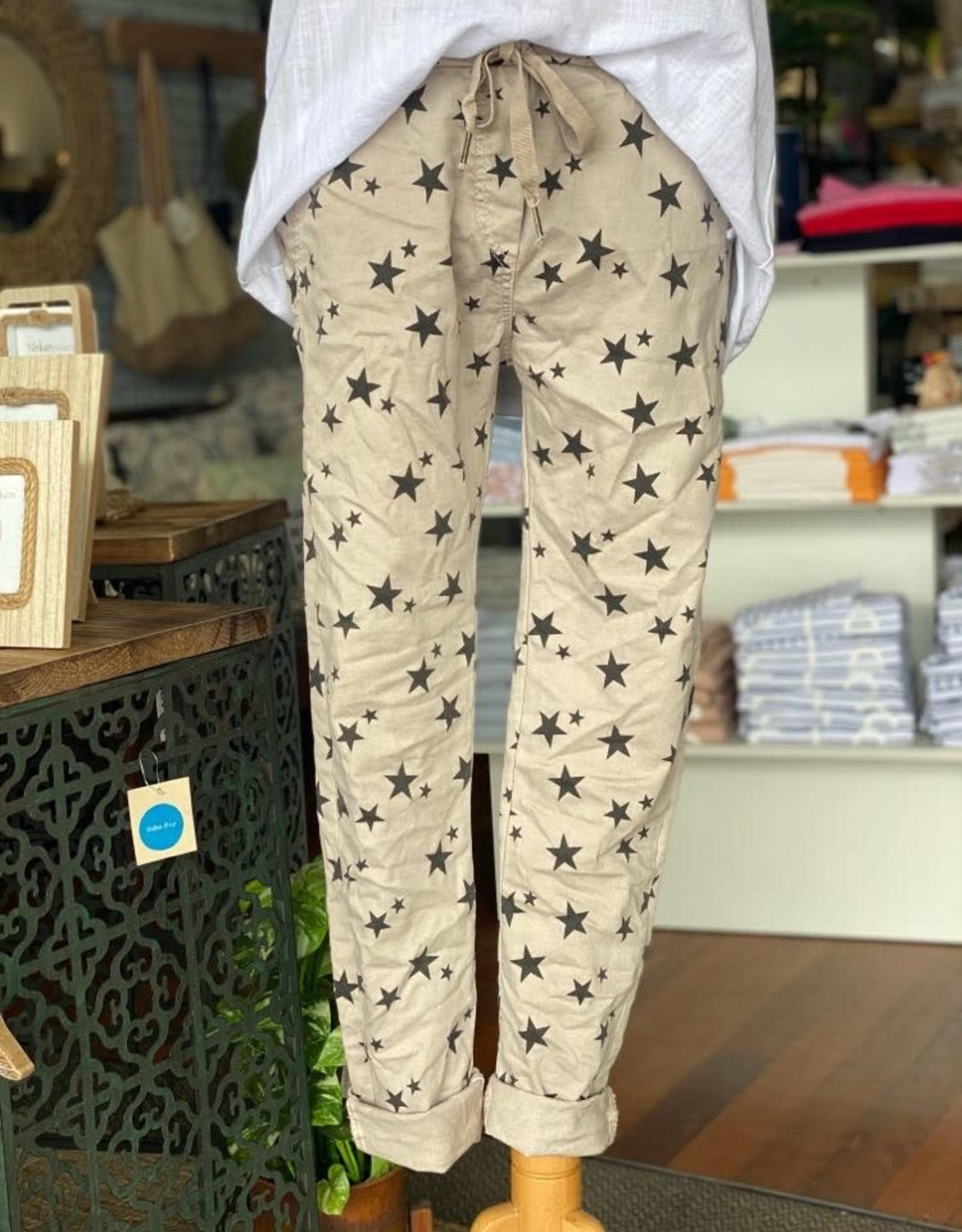 WEDNESDAY LULU GE-6175 Beige Star Pants