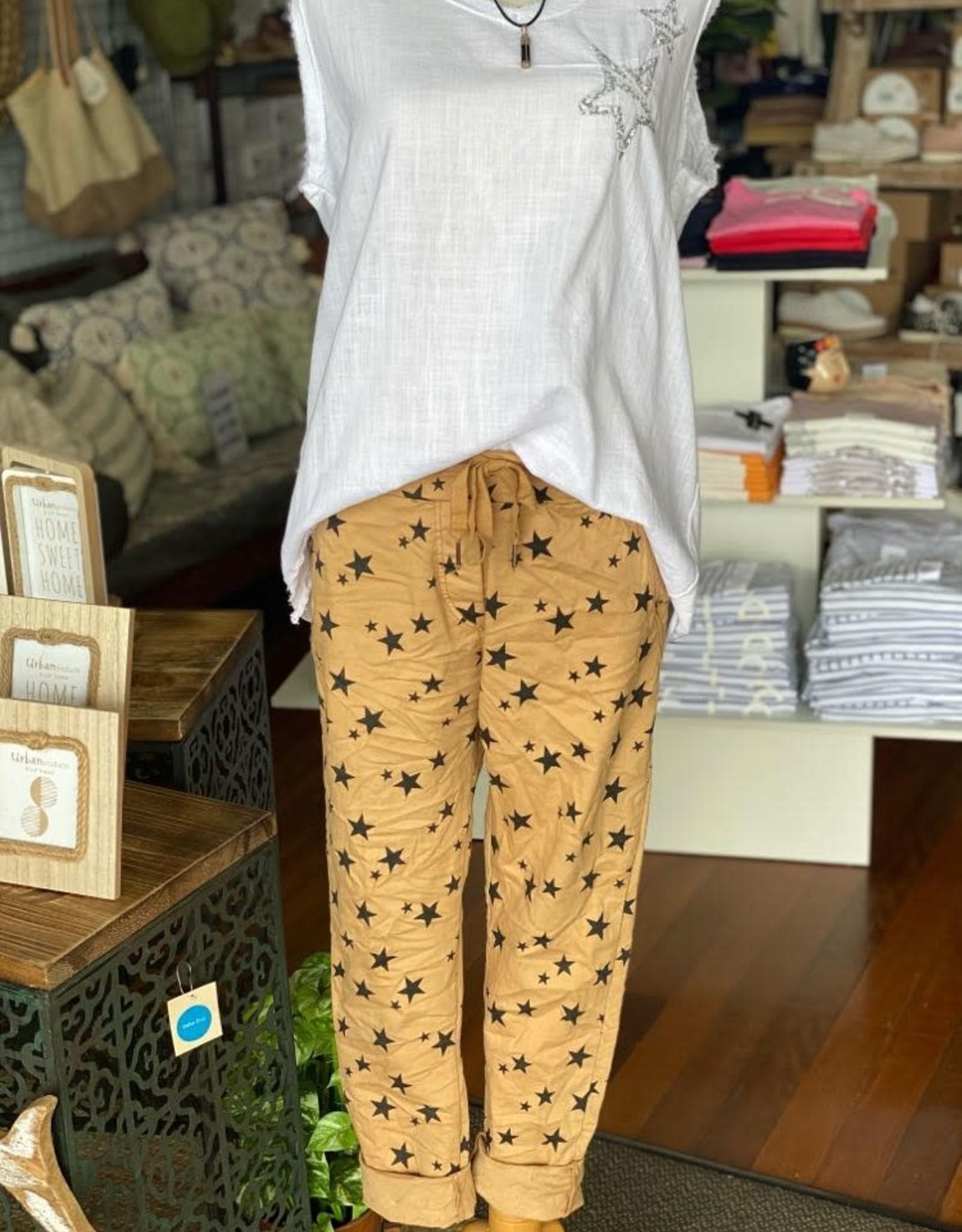 WEDNESDAY LULU GE-6175 Camel Star Pants