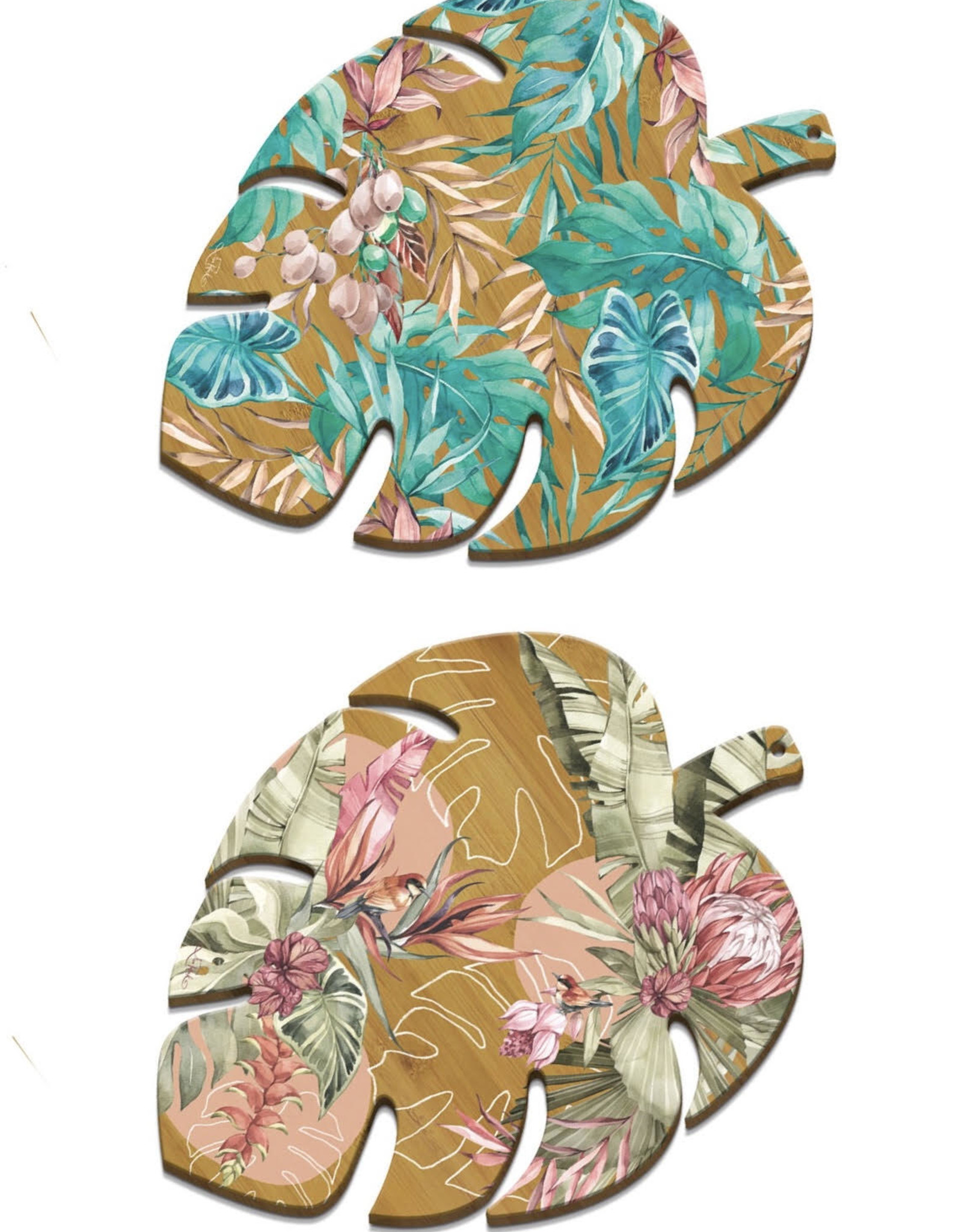 LISA POLLOCK Monstera Leaf Bamboo Platter