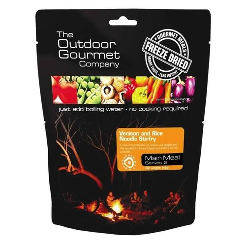 BACKCOUNTRY OUTDOOR GOURMET VENISON AND RICE NOODLE STIRFRY (DOUBLE SERVE)