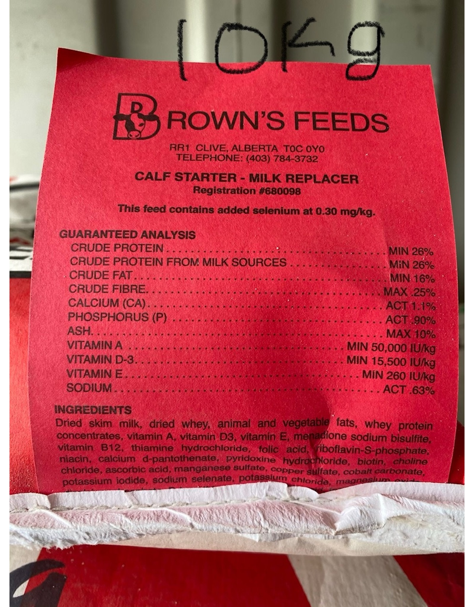 BROWN'S CALF STARTER MILK REPLACER  - 10 kg BAG B1110