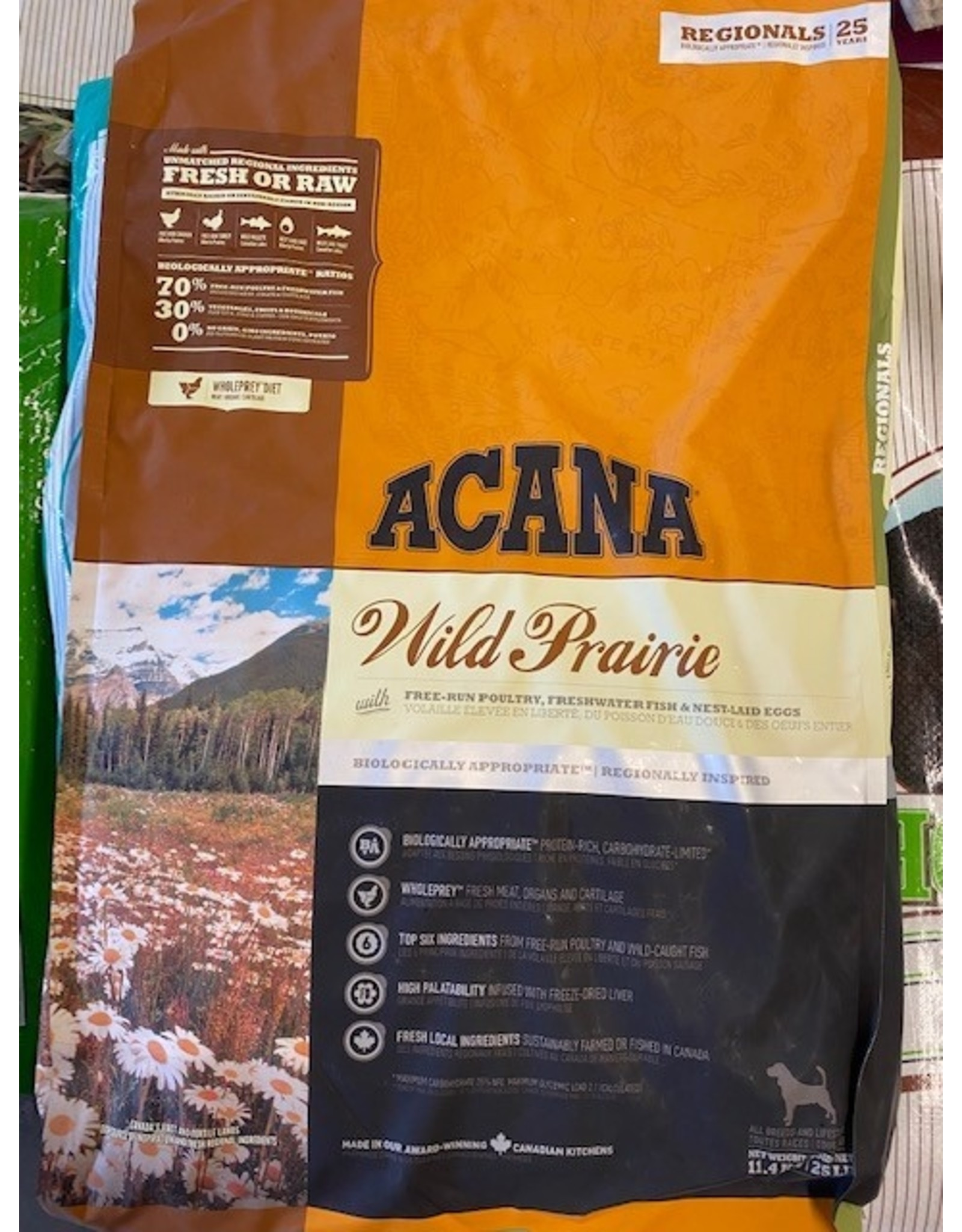 ACANA* WILD PRAIRIE-Poultry, Fish, Egg-25lbs (Orange/Red Bag) All Breed and Life Stages