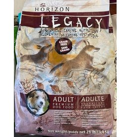 HORIZON LEGACY* Adult -Grain Free Dog Food -  (Maroon/white bag) Chicken,Salmon, Turkey- 11.4kg 25lb 4900138