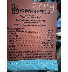 BROWN'S CALF GROWER MILK REPLACER (Peach Tag) - 20 kg BAG B1220