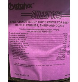 Sweet 14% Any species - small tubs Purple Lable  - 60lbs  Protein 14% Fat 4% Fiber 4% ** safe for cattle, horses, sheep and goats