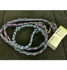 Reins* Ecolux Barrel Rein Flat Braid Turquoise/Purple 35325-12-08-110