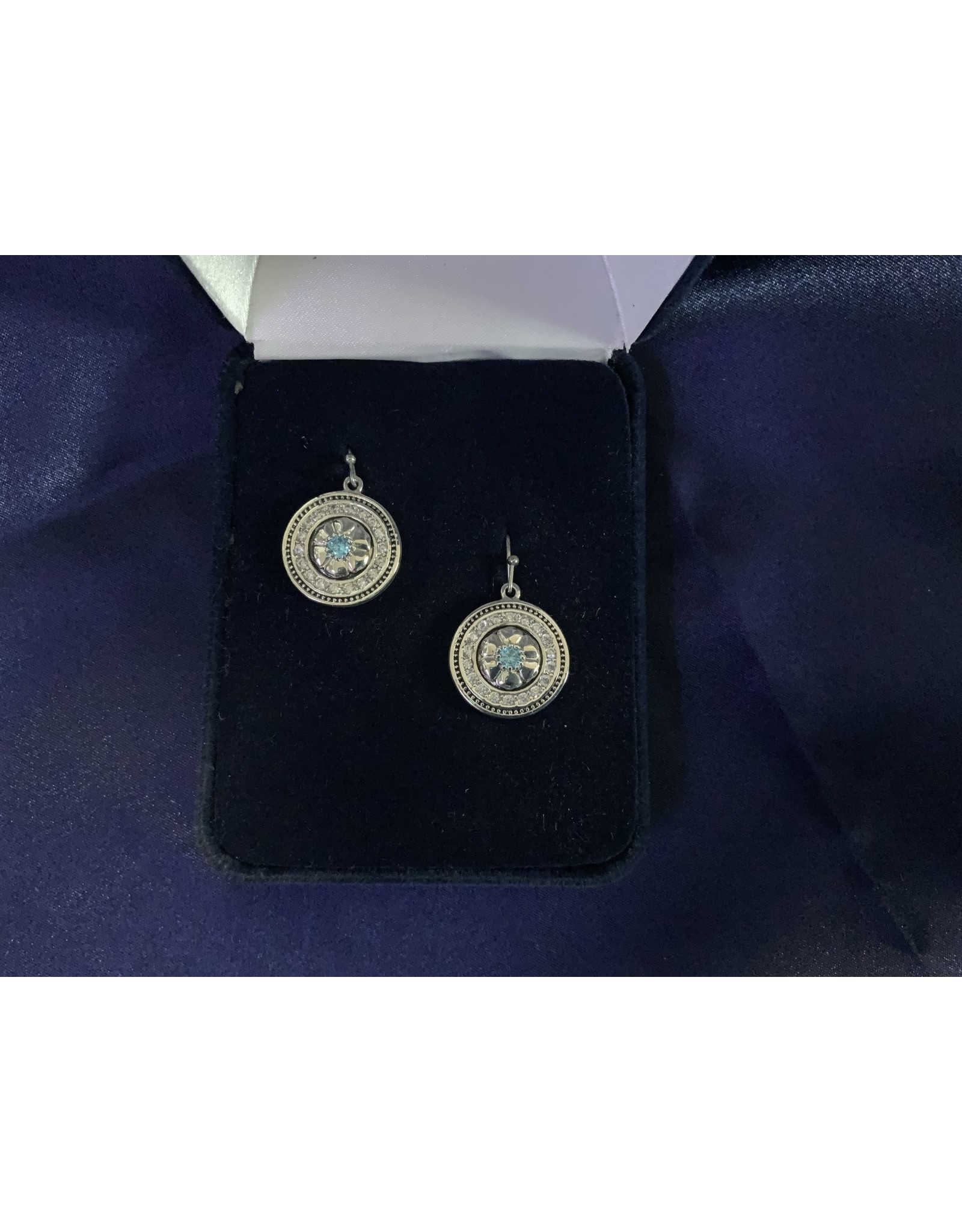 BLUE STONE WITH CZ MEDALLION EARRINGS
