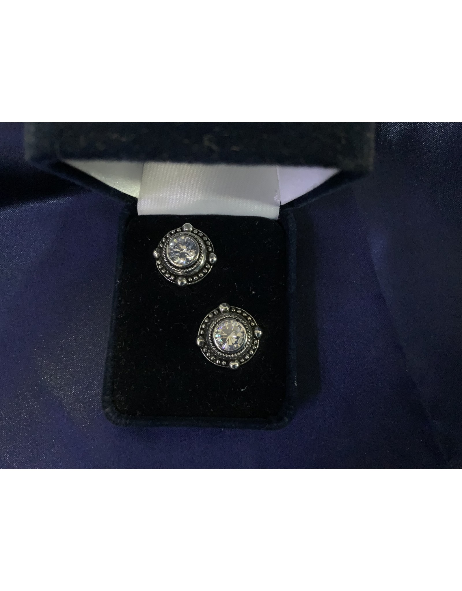 BEADED STUD WITH LARGE CZ EARRING