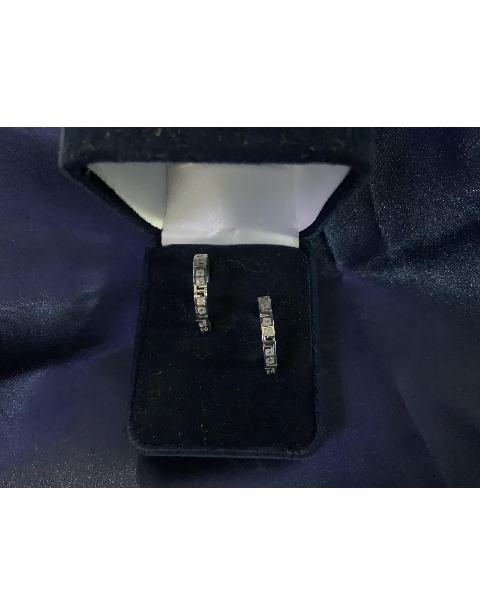 Aztec & Crystal Silver Hoop Earrings